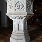 13th century octagonal font of Purbeck marble