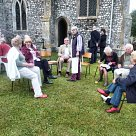 Diners in the churchyard